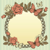 Frame with flowers and butterflies Royalty Free Stock Photography
