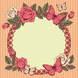 Frame with flowers and butterflies Stock Photography