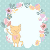 Frame of flowers and a cat with balloons Stock Images