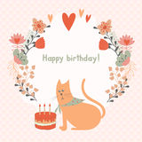Frame of flowers and a cat with cake Stock Image