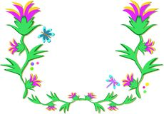 Frame of Flowers and Dragonflies Royalty Free Stock Photography