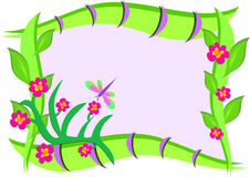 Frame with Flowers, Dragonfly, and  Patterns Stock Image