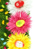 Frame of flowers and Easter eggs Stock Photo