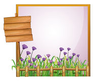 A frame with flowers and the empty board Royalty Free Stock Images