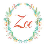 Frame of flowers and ferns with girl`s name Zoe Royalty Free Stock Photo