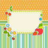 Frame with flowers and fruits Royalty Free Stock Photo