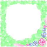 Frame of flowers with greens, watercolor. Vector illustration, frame of flowers with greenery, watercolor Stock Photos