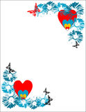 Frame with flowers and hearts. Abstract colored frame with blue flowers, hearts and butterflies Stock Images