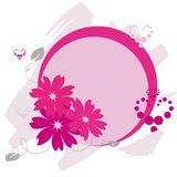 Frame with flowers and hearts. Vector circle frame with flowers and hearts Stock Image