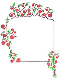 Frame from flowers and leaves. Frame made from red flowers and green leaves Stock Image
