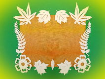Frame from flowers and leaves. Paper cutting. Royalty Free Stock Image