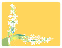 Frame with Flowers and lines. Frame with white flowers and colorful lines.  Light orange area to add text or other images - illustrated vector art work Royalty Free Stock Image
