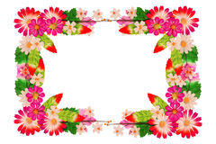 Frame of flowers made of colorful paper Royalty Free Stock Images
