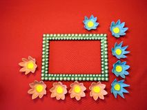 Frame and flowers made from paper Royalty Free Stock Image