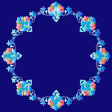 Frame with flowers of Ottoman art one version. Decorative frame pattern drawn in the old style Stock Photos