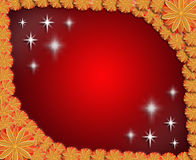 Frame from flowers on red sparkling background Royalty Free Stock Photography