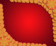 Frame from flowers on red sparkling background Royalty Free Stock Image