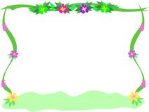 Frame of Flowers, Ribbons, and Bush Stock Photography