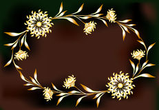 Frame with flowers in the shape of an ellipse Stock Images