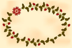 Frame with flowers in the shape of an ellipse  Royalty Free Stock Photography
