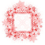 Frame, flowers & snowflakes Royalty Free Stock Photography