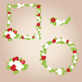 Frame of flowers and strawberries. Two frames and elements of strawberry. Vector format EPS10 Stock Illustration