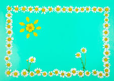 Frame with flowers and sun of daisies Royalty Free Stock Images