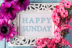 Frame with flowers and text: Happy sunday Stock Image
