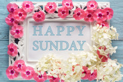 Frame with flowers and text: Happy sunday Royalty Free Stock Photography