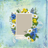 Frame with flowers on a vintage background. Vintage background with frame for photo or text and with flowers daisies and bluebells vector illustration