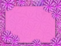 A frame with flowers in violet tones. Abstract painted bright violet flowers Royalty Free Stock Photo