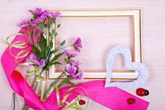 Frame with flowers Stock Image