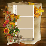 Frame with flowers on a wooden background Royalty Free Stock Photo