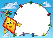 Frame with flying cartoon kite vector illustration