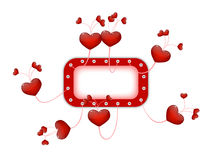 Frame with flying hearts Royalty Free Stock Image