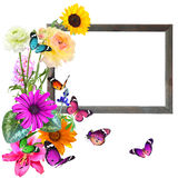 Frame fo memory. Woden blank picture ( photo) frame with butterflies (copy space for photo, picture or text). Artistic background. Isolated on white Stock Images