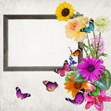 Frame fo memory. Woden blank picture ( photo) frame with butterflies (copy space for photo, picture or text). Artistic background. Old paper textured backround Stock Image