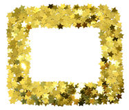 Frame with foil gold stars. Scattered stars border. Royalty Free Stock Photo