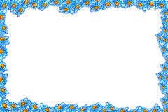 Frame in the form of blue daisies Stock Images