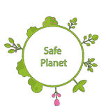 Frame form circle green earth plant flower cry safe planet Stock Images