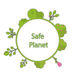 Frame form circle green earth plant flower cry safe planet Royalty Free Stock Images
