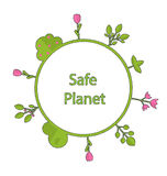 Frame form circle green earth plant flower cry safe planet Royalty Free Stock Photography