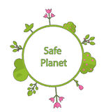 Frame form circle green earth plant flower cry safe planet. Drawing doodle frame in form circle green earth on surface tree, plant, flower and bush intro cry Stock Photos