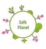 Frame form circle green earth plant flower cry safe planet. Drawing doodle frame in form circle green earth on surface tree, plant, flower and bush intro cry Stock Photography
