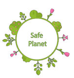 Frame form circle green earth plant flower cry safe planet. Drawing doodle frame in form circle green earth on surface tree, plant, flower and bush intro cry Royalty Free Stock Image