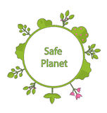 Frame form circle green earth plant flower cry safe planet. Drawing doodle frame in form circle green earth on surface tree, plant, flower and bush intro cry Royalty Free Stock Images