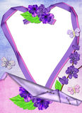 Frame in the form of heart in lilac colours. Stock Photos