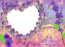 Frame in the form of heart in lilac colours. Royalty Free Stock Photo