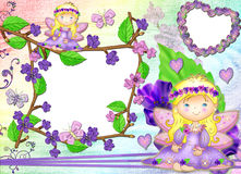 Frame in the form of heart in lilac colours. Royalty Free Stock Photography