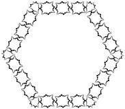 Frame in the form of hexagon from decorative elements of black color. Stock Image